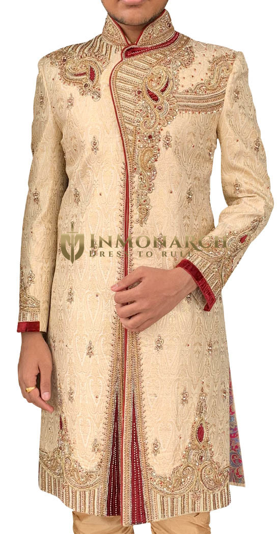 Mens Beige Wedding Embroidered Indian Sherwani for Groom