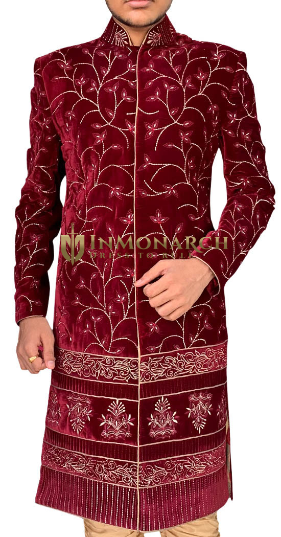 Maroon Velvet Mens Wedding Indian Sherwani