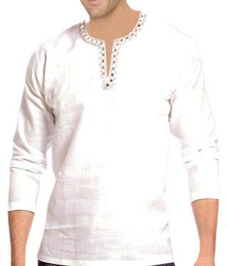 Mens White Linen Short Kurta Thread Work