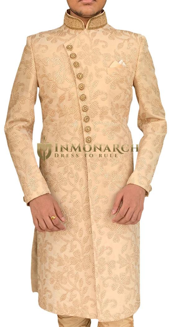 Burlywood Mens Sherwani for Groom having Royal Designer Look