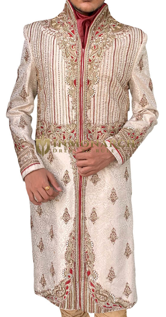 Mens Beige Sherwani giving amazing look for Groom