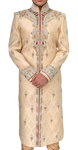 Men Burlywood Sherwani Traditional Indian Suit Western Attire