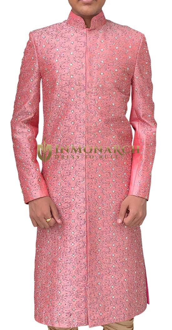 Mens Pink 2 Pc Wedding Sherwani Famous