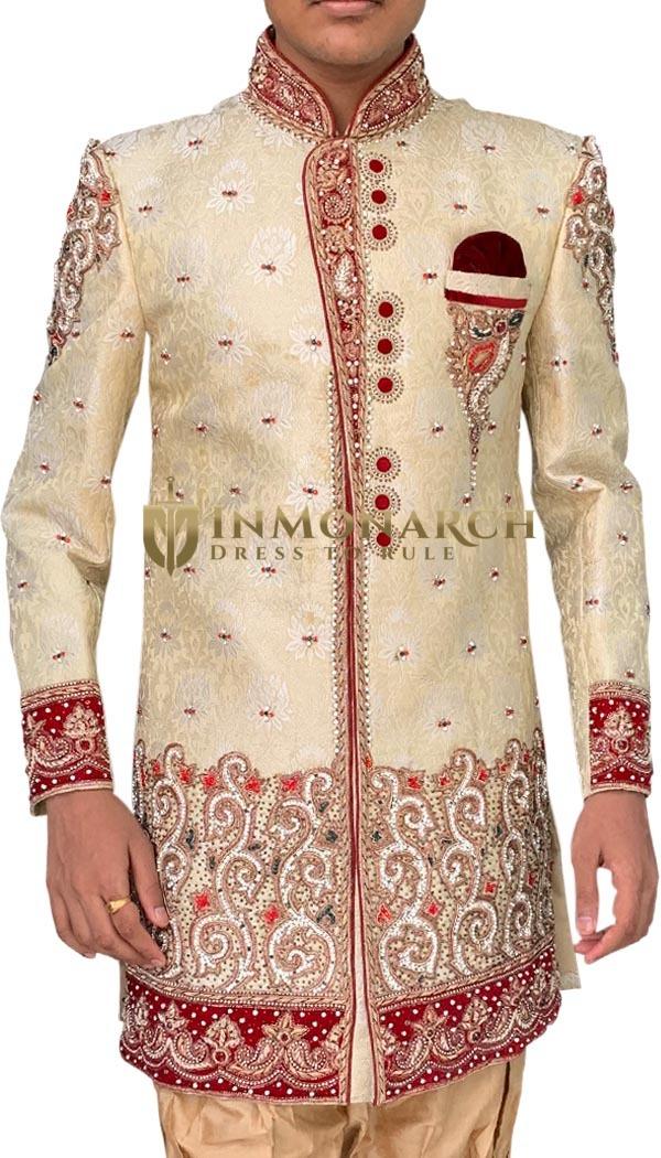Men Beige Indo Western Indian Wedding Suit
