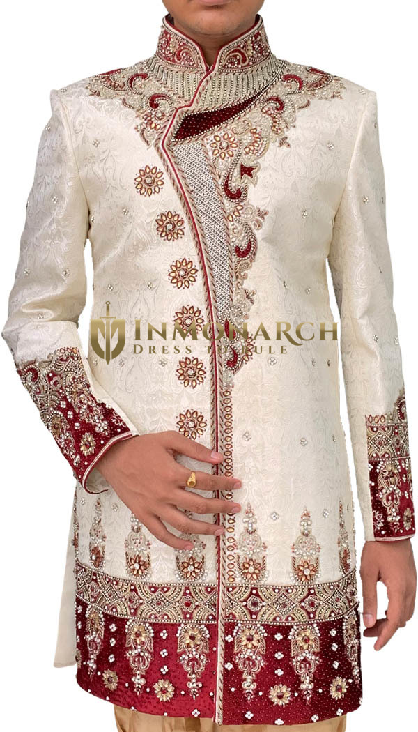 Men Beige Indo Western Reception Designer for Indian Wedding