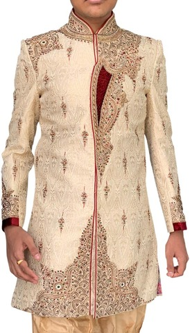 Indian Wedding Clothes for Men Beige Embroidered Indowestern Sherwani