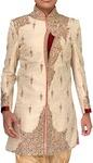 Indian Wedding Clothes for Men Beige Embroidered Indowestern Sherwani