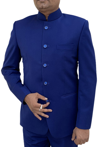 Mens Royal Blue Indian Nehru collar Suit Traditional 5 Button