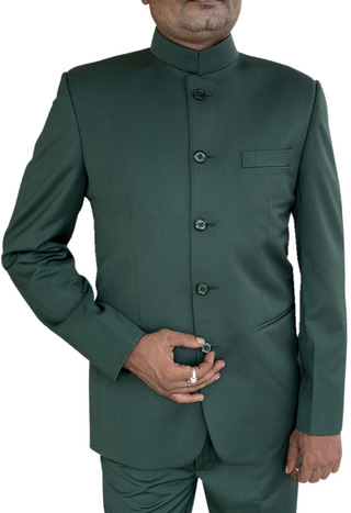 Mens Green Indian Nehru collar Suit Traditional 5 Button