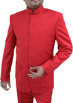 Mens Red 2 Pc Indian Nehru collar Suit Wedding Concealed Button