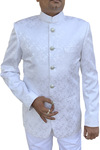 Mens White Indian Nehru collar Designer Suit 5 Button