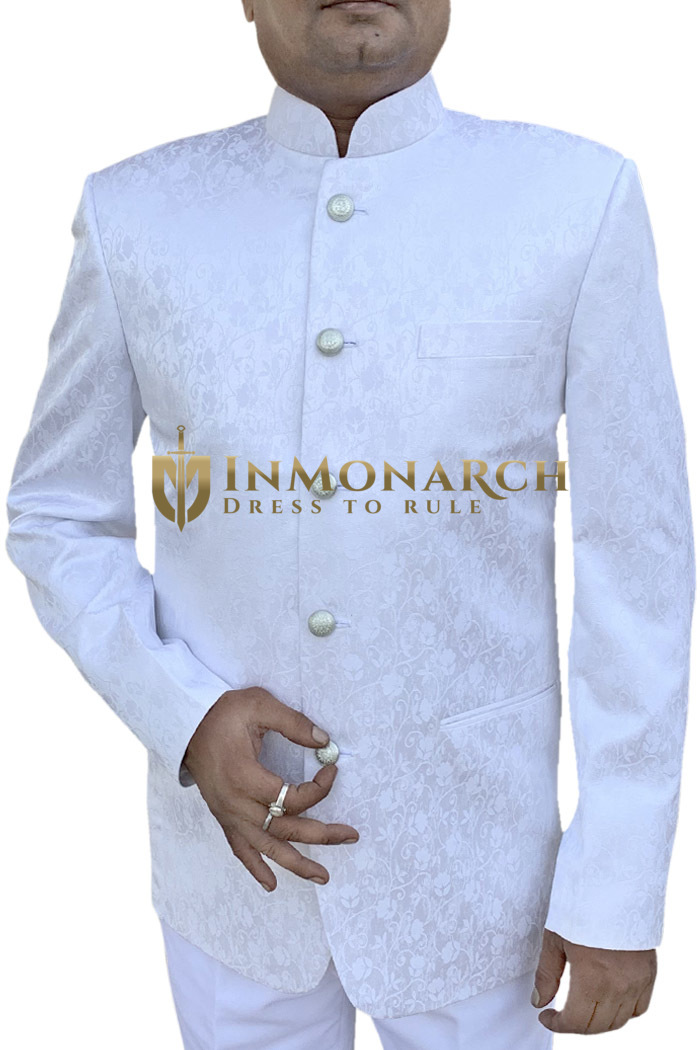 Mens White Indian Nehru collar Traditional Suit 5 Button