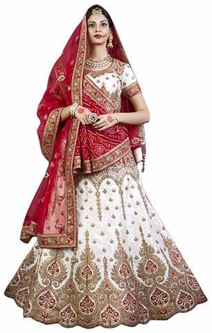Womens Wedding White Silk Lehenga Choli