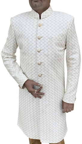 Cream Traditional Sherwani Suit for Men