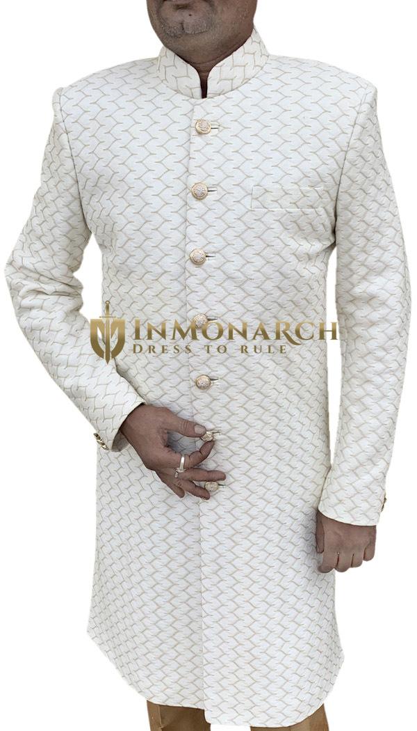 Cream Traditional Sherwani Suit for Men