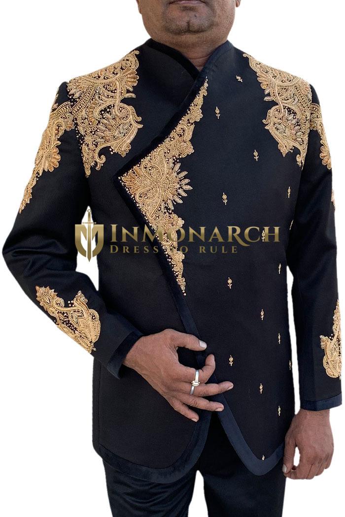 Mens Black 2 Pc Jodhpuri Suit Royal Designer