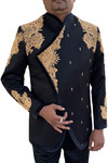 Mens Black 2 Pc Jodhpuri Suit Royal Designer