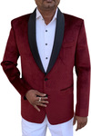 Mens Slim fit Casual Burgundy Velvet Blazer sport jacket coat Attractive Two Button