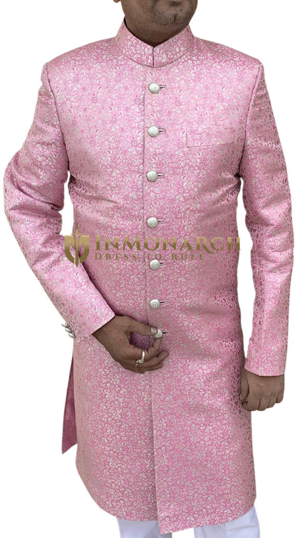 Mens Indo Western Outfit Pink Maharaja Sherwani Ethnic Indo Western Outfit