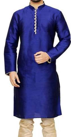 Kurta Pajama for Men Royal Blue Dupion 2 Pc Kurta Pyjama Wedding Sherwani