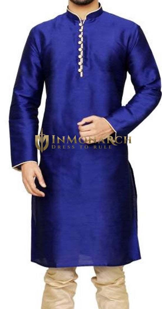 Kurta Pajama for Men Royal Blue Dupion 2 Pc Kurta Pyjama Wedding Sherwani