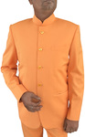 Mens Orange Indian Nehru collar Suit Traditional 5 Button