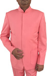 Mens Pink 2 Pc Indian Nehru collar Suit Wedding Concealed Button