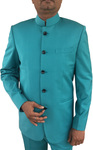 Mens Blue Indian Nehru collar Suit Traditional 5 Button