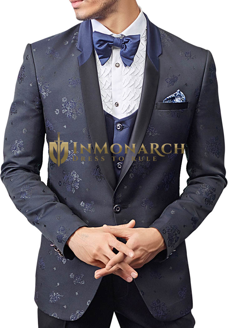 Gray 6 pc Mens Tuxedo Suit