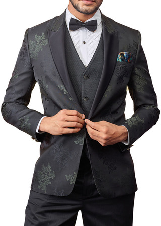 Mens Black Tuxedo Suit in 6pc and with one Button Peak Lapel Jacket