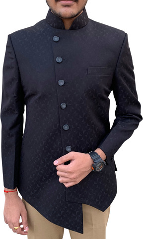 Mens Black 2pc Nehru Collar Suit