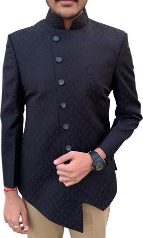 Mens Black 2pc Nehru Collar Suit