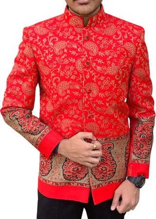 Mens Red Himroo fabric Nehru Jacket