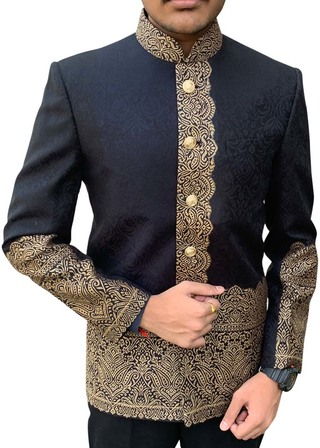 Mens Black Himroo fabric Nehru Jacket