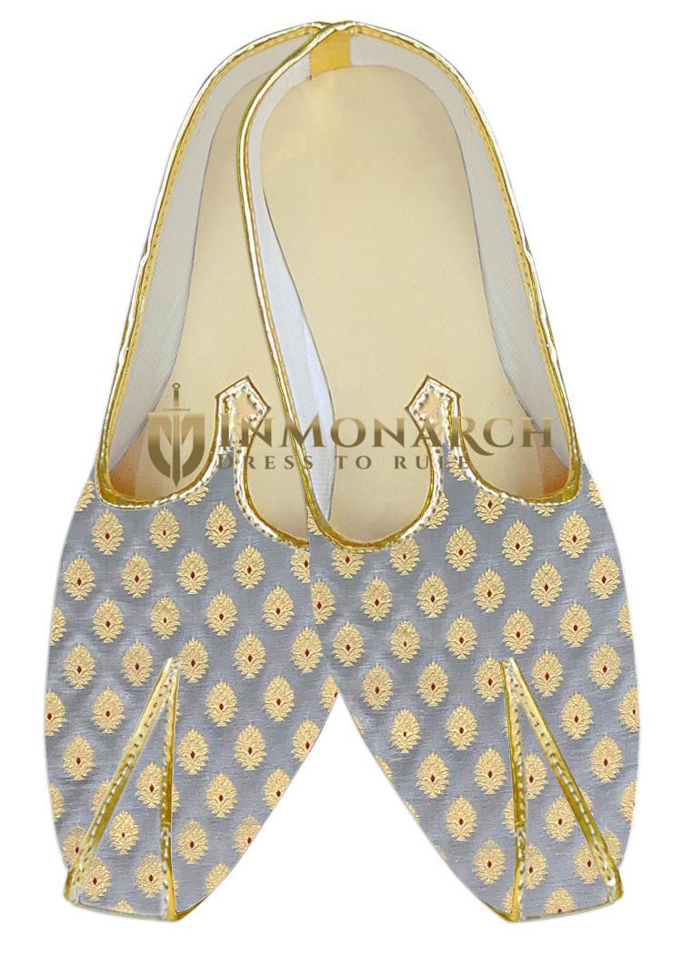 Mens Juti Silver Indian Wedding Sherwani Shoes