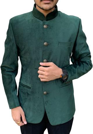 Dark Green Suede Mandarin Collar Nehru Jacket