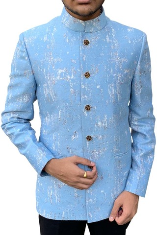 Mens Sky Blue Indian Nehru Jacket