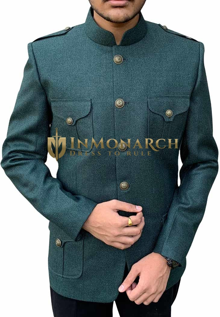 Mens Green Jodhpuri Style Safari Blazer