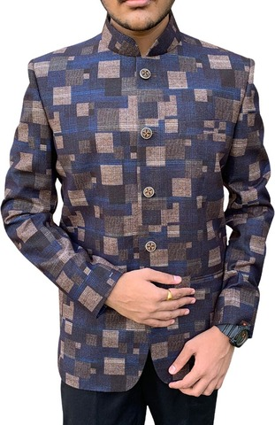 Mens Nehru Jacket With Geometrical Print