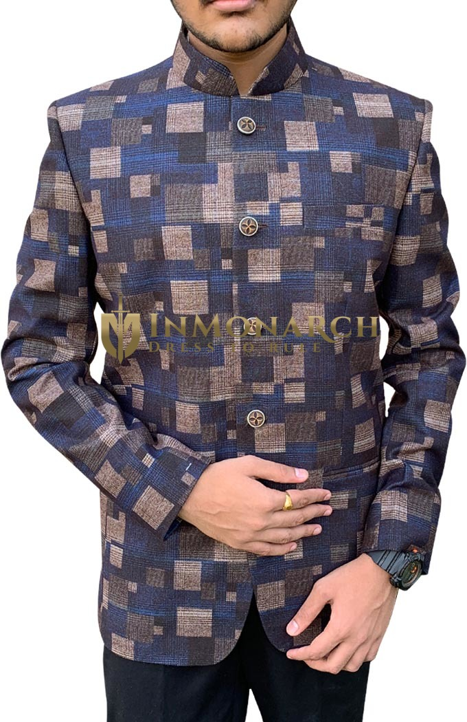 Mens Nehru Jacket With Geometrical Print