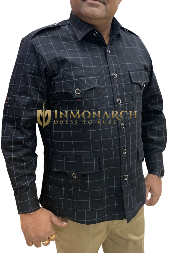 Boy ScoutUniform black checks Safari Shirt Mens Hunting Shirts full Sleeves