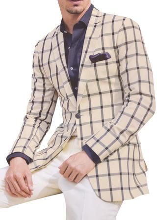 Mens Casual ivory checks Blazer sport jacket coat