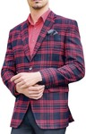 Mens Sport Jacket Navy blue Red checks Slim fit Blazer