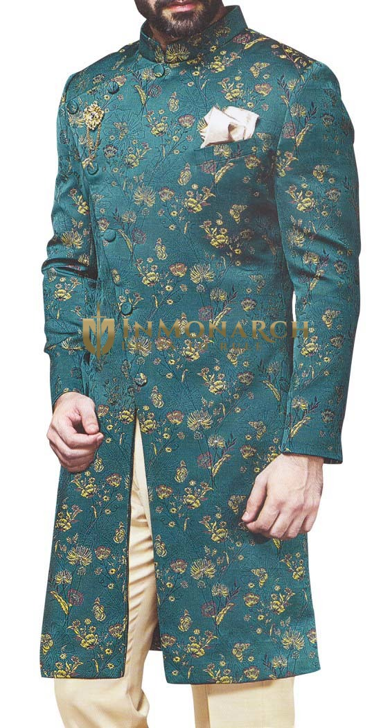 Mens Teal Wedding Indo Western Sherwani for Reception