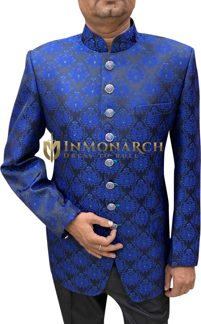 Mens Royal Blue Jodhpuri Suit