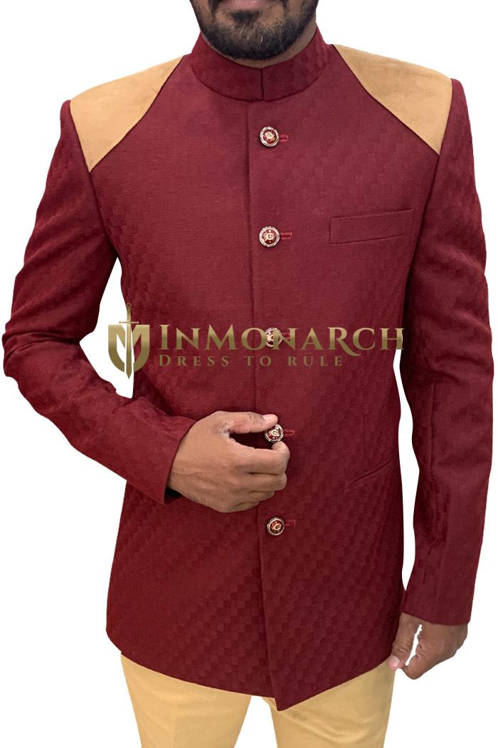 Mens Maroon Partywear Jodhpuri Suit