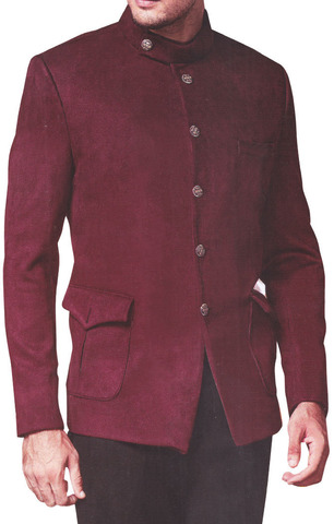 Traditional Mens Maroon Nehru Jacket for Groomsmen