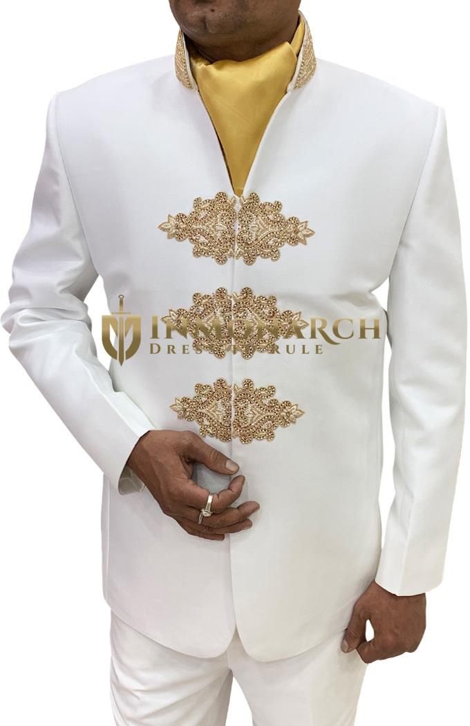 Mens Cream 3 Pc Jodhpuri Suit Hand Embroidered