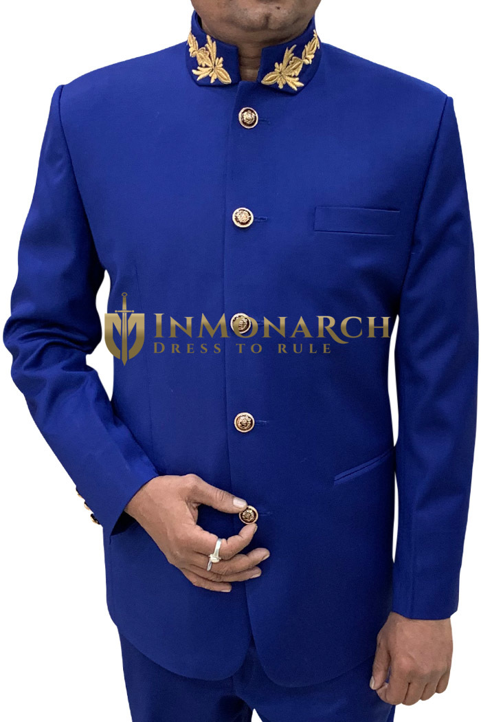 Mens Blue 2 Pc Jodhpuri Partywear Suit