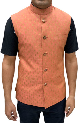 Mens Nehru Jacket Orange Waistcoat